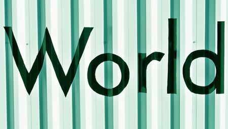 World word over green metallic wall backdrop Stock Photo - 17226518