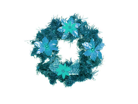 cian: Cian blue xmas crown ornament isolated on white Stock Photo