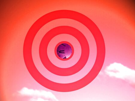 focalize: Attention to time or schedule, conceptual image in red