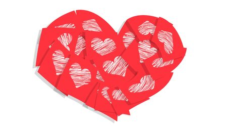 Valentines passion red heart of love notes isolated on white background photo
