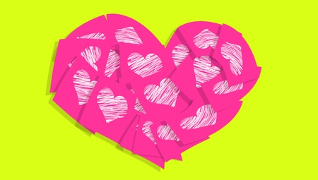 Pink heart of notes with hearts over green light backdrop photo
