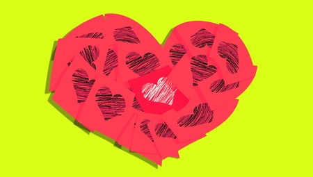 Red heart of notes with hearts isolated on yellowish green background photo