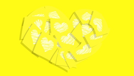 Yellow background with a heart of paper office notes with white hearts photo