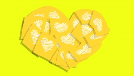 Yellow post it notes heart with love messages in hearts photo