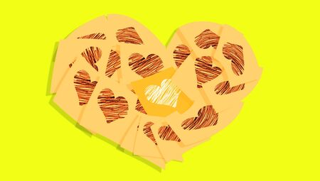 communicated: Yellow background with a light orange heart of post it notes with hearts Stock Photo
