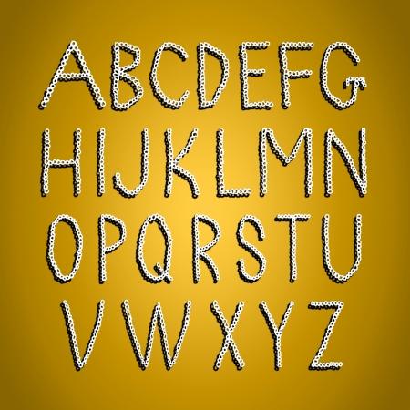 goldish: Goldish background with crochet alphabet