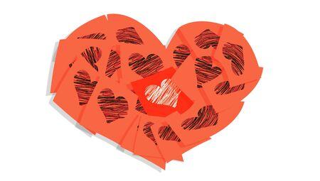 february 1: Orange isolated heart of love notes over white