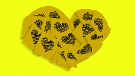 Ochre heart of notes with hearts over yellow photo