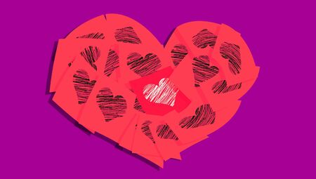 february 1: Red romantic heart of office notes with hearts of love messages over purple Stock Photo
