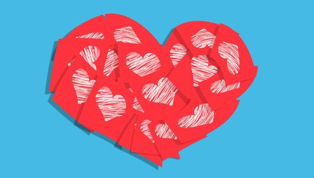 Red valentines heart of notes with hearts over blue photo