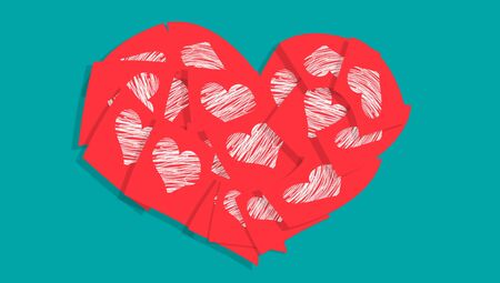 Red heart of notes with hearts over blue photo