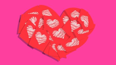 composing: Red notes with white hearts composing a heart over pink background
