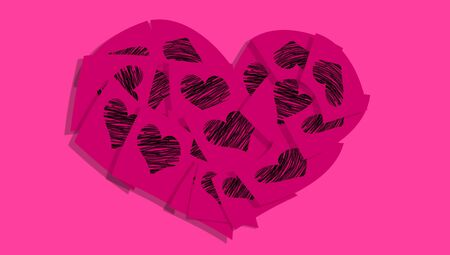 Magenta heart of notes with hearts over pink photo