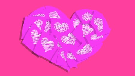 Purple pink heart of post it notes with hearts photo