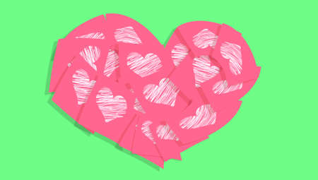 Valentines heart of post it notes with hearts photo