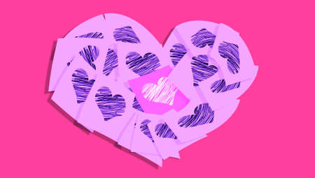 Romantic lilac pink heart of notes with purple hearts over pink background photo