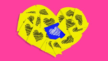 post it notes: Colorful post it notes heart with hearts Stock Photo