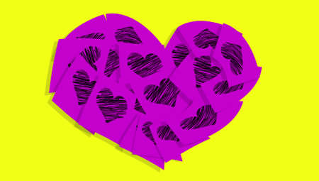 Purple heart with hearts isolated on yellow background photo