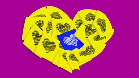 Yellow post it notes in a heart with heart and one blue over purple background photo