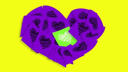 composing: Violet notes of love composing a heart with one green at the center isolated on yellow backdrop