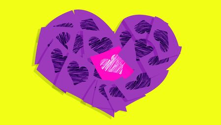 Violet heart of notes with one different in pink with hearts over yellow photo