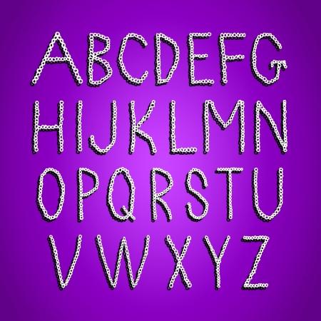 Purple background with white crochet alphabet Stock Photo - 17508735