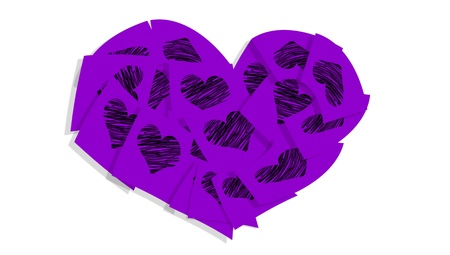 communicated: Violet heart of paper notes with hearts isolated on white backdrop