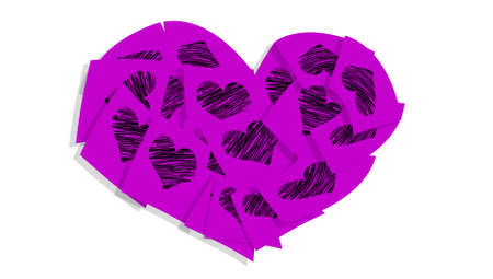Purple heart of notes with love valentines messages isolated on white background photo