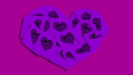 february 1: Violet purple background with a hearts of papers with hearts