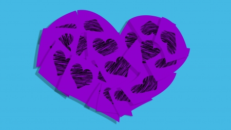 cian: Violet heart of post it notes with hearts isolated over cian blue background