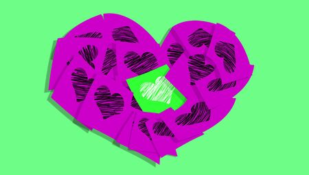composing: Purple notes composing a heart with one green all of them with hearts