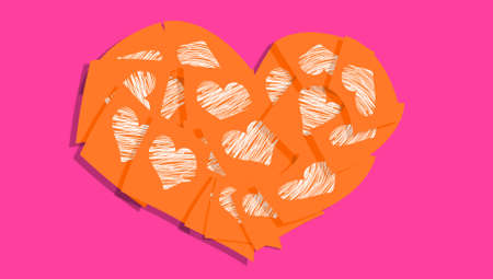 Orange heart notes with white hearts on pink background photo