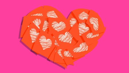 Redish orange heart of notes with love messages over fuchsia background photo