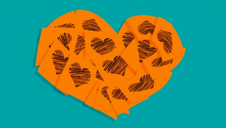 february 1: Orange heart of notes with black hearts