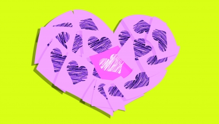 Pink heart of post it notes with hearts over greenish yellow photo