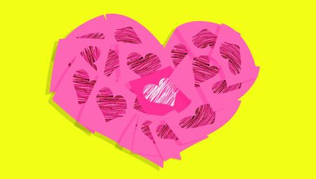 Pink heart of notes over yellow background photo