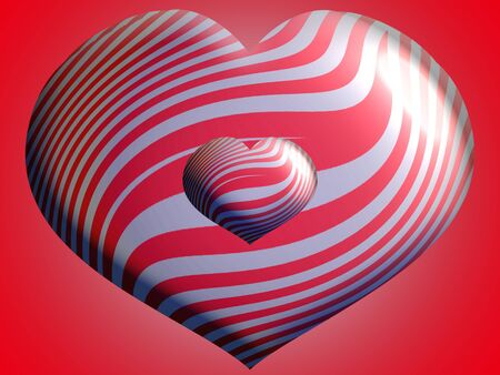 aniversaries: Couple of red and silver striped hearts Stock Photo