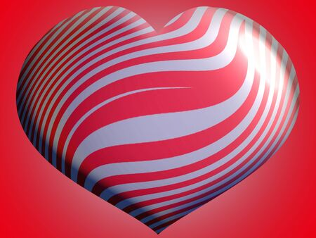 Red heart with metallic silver stripes photo