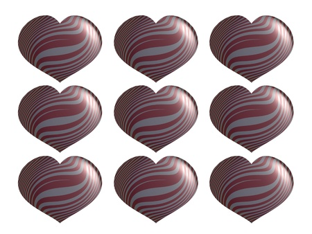 Set of Valentines metallized hearts isolated on white background photo