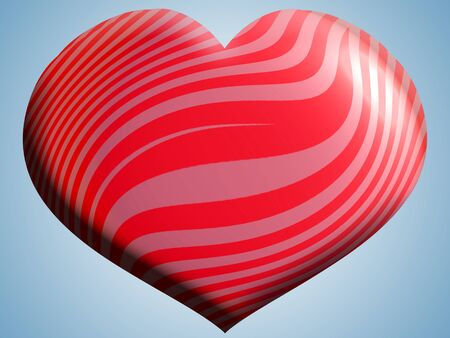 Red striped heart balloon over the sky photo