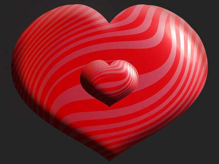 aniversaries: Two striped red hearts of different sizes Stock Photo