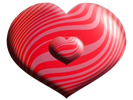 smaller: Isolated red heart over white with a smaller one over it Stock Photo