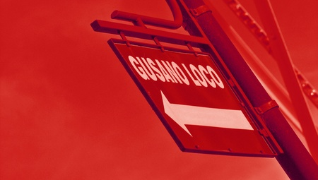 typographies: Crazy worm in spanish gusano loco in a street sign