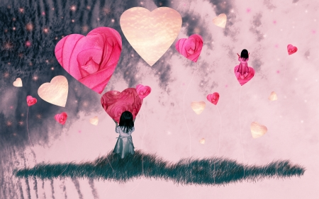 Romantic image of a girl playing with hearts over the sky photo