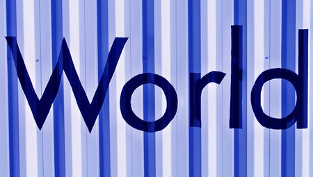typographies: World word over blue metallic background