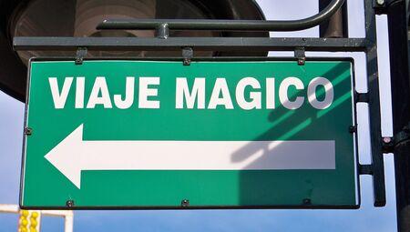 typographies: Magic trip billboard with an arrow