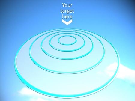 Ziel Platz auf einer fliegenden Scheibe Kreise n blauen Himmel Standard-Bild - 17764229