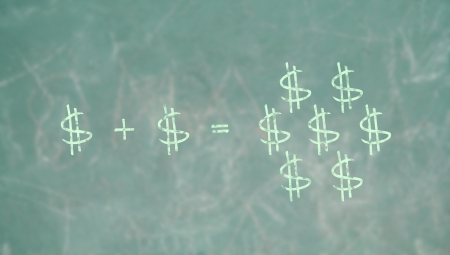 Learning math formula to pruduce money in school green blackboard photo