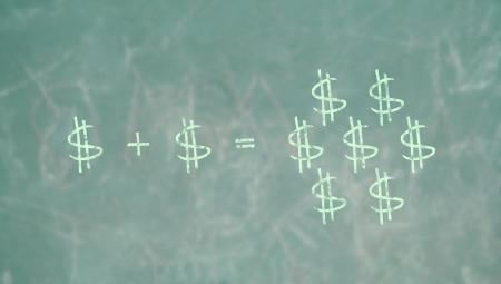summation: Learning math formula to pruduce money in school green blackboard