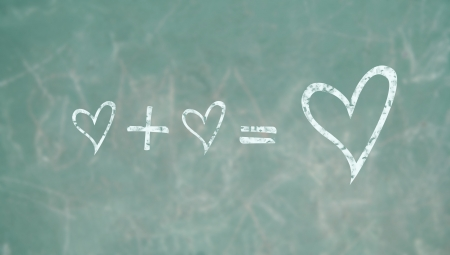 summation: Teaching to love in the school blackboard, conceptual image